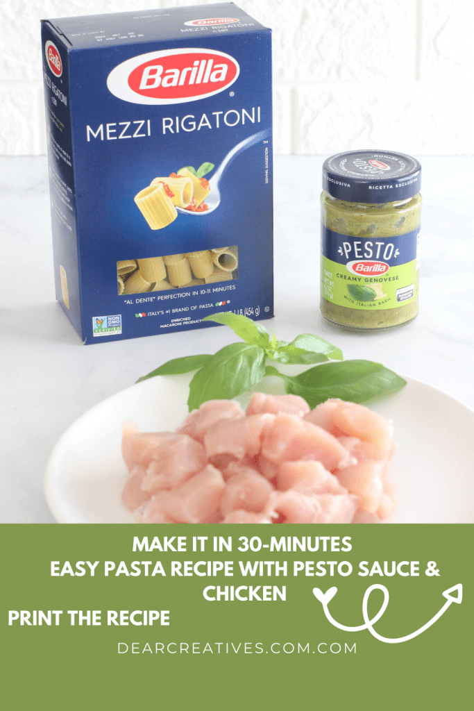 Quick dinner idea with pasta, creamy pesto sauce and chicken. Print the recipe and make it tonight and have pasta for dinner! (ingredients) - grab the recipe at DearCreatives.com