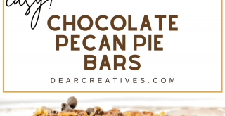 These Pecan bars are chocolatey, sweet and filled will pecans. Grab the Chocolate Pecan Pie Bars. It's so easy! DearCreatives.com