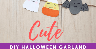 DIY Halloween Garland - Grab the printable template to make a banner with a ghost, bat, witch hat, pumpkin, and candy corn. Instructions for this Halloween craft and template at DearCreatives.com